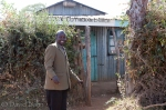 Evangelist Joshua at the storage shed for the church in Kilgoris