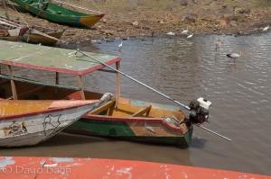 Boats await tourists at Lake Victoria near Kisumu