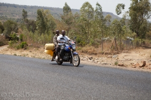 A common site on the roads in Kenya: Motorbikes used for transporting people and cargo