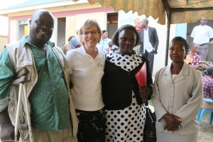 Pastor (and bishop-elect) Joseph Ombasa, and his wife Hylene, with Diane and  Caroline Ong'ondo (whose husband served as a translator for Diane)