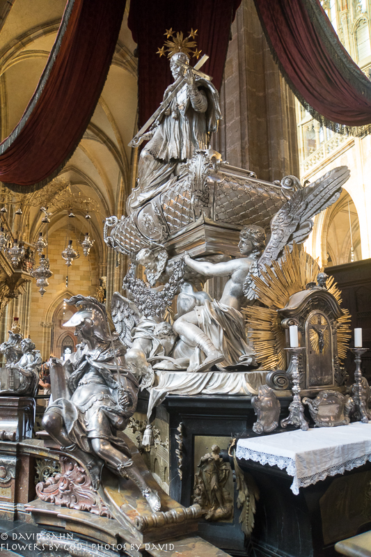 Silver tomb of St. John of Nepomuk in St. Vitus Cathedral