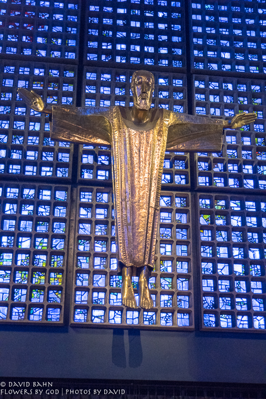 The large Christ Figure inside the new sanctuary of the Kaiser Wilhelm Church