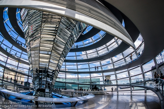 View of interior of Crystal Dome of Reichstag Building